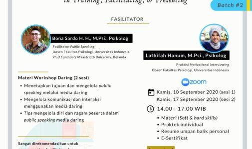 "Workshop Daring: ""Enhancing Virtual Public Speaking in Training, Facilitating or Presenting (Batch 2)"