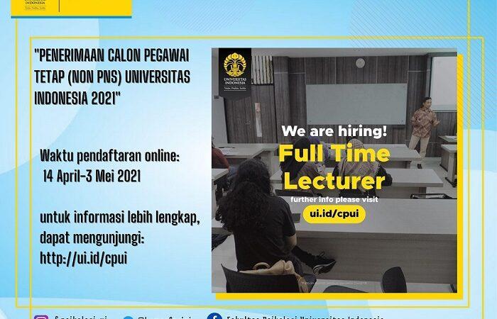 Info Lowongan Kerja Penerimaan Calon Pegawai Tetap Non Pns Universitas Indonesia 2021